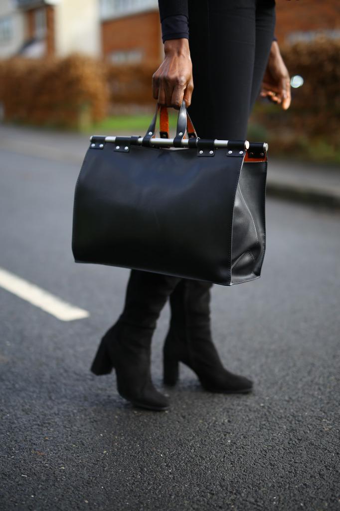Oversized Black Leather bag
