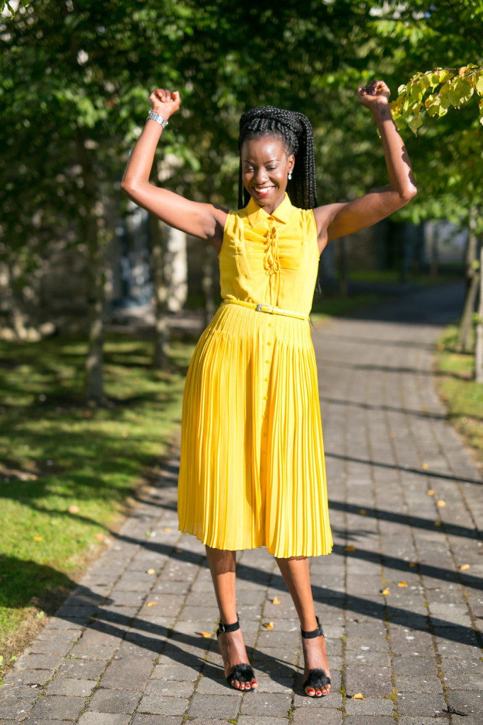 JASPER_CONRAN_PLEATED_YELLOW_DRESS