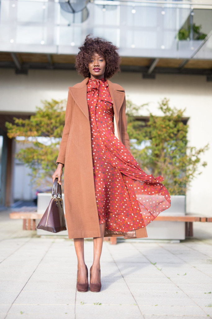 Orange_midi_polka_dot_dress