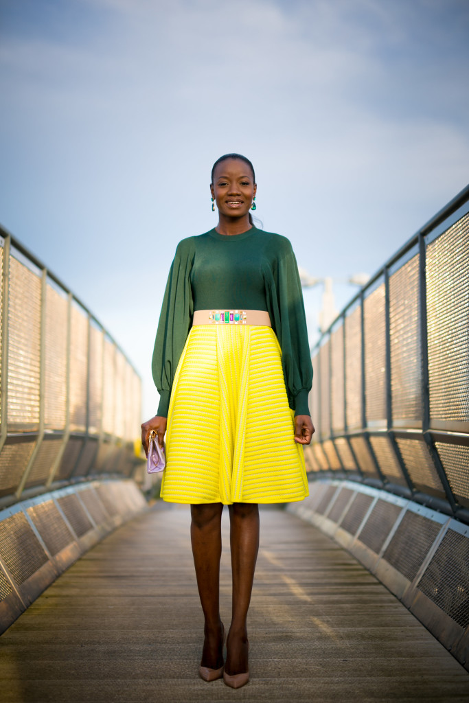 Bell_sleeve_blouse_and_neon_skirt