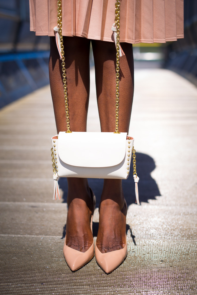 Studded Purse and beige heels